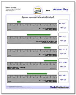 Measure Centimeter Wholes Length, Whole Start Worksheet