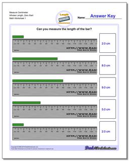 Measure Centimeter Wholes Length, Zero Start Metric Measurement Worksheet