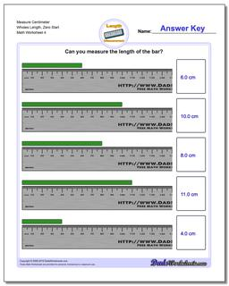 Measure Centimeter Wholes Length, Zero Start Worksheet