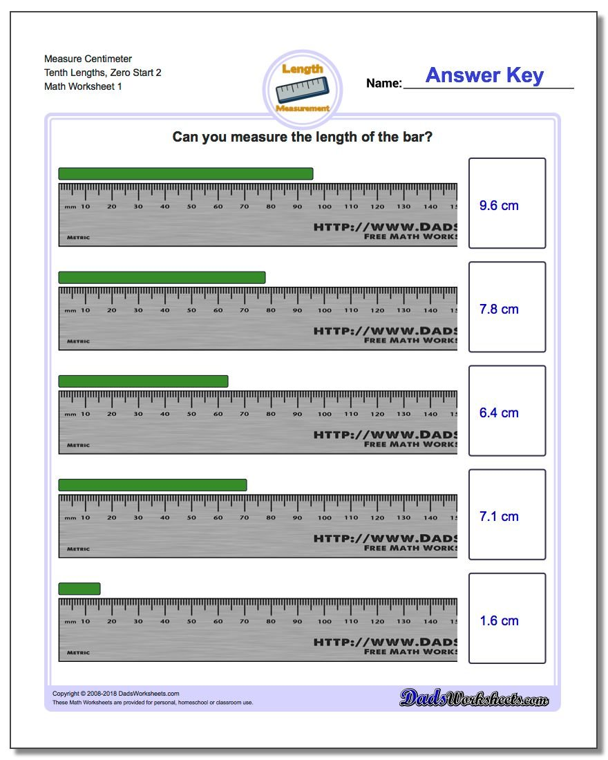 Measure Centimeter Tenth Lengths, Zero Start 2 Metric Measurement Worksheet