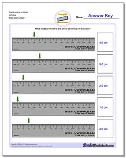 Centimeters on Ruler Wholes Metric Measurement Worksheet