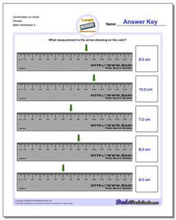 Centimeters on Ruler Wholes www.dadsworksheets.com/worksheets/metric-measurement.html Worksheet