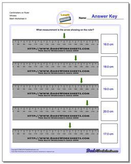 Centimeters on Ruler Wholes Worksheet