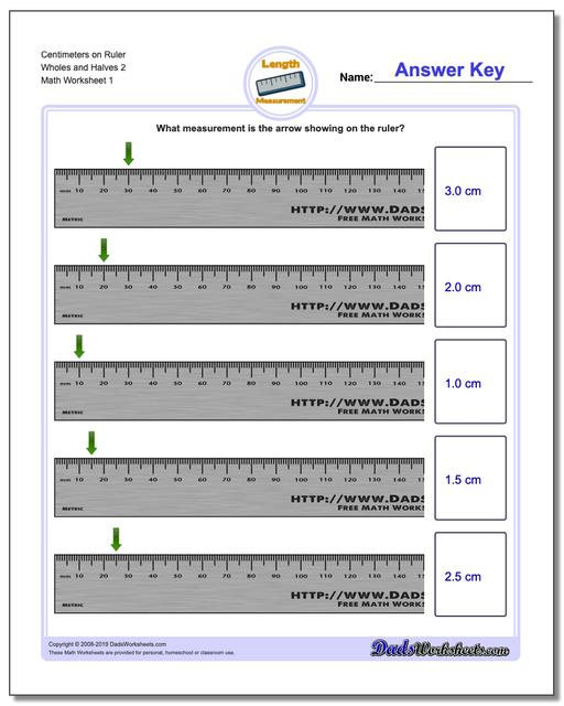 Centimeters on Ruler Wholes and Halves 2 Metric Measurement Worksheets