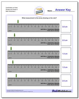 Centimeters on Ruler Wholes and Halves 2 Metric Measurement Worksheet