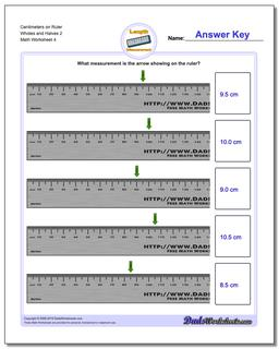 Centimeters on Ruler Wholes and Halves 2  Worksheet #Metric #Measurement #Worksheet