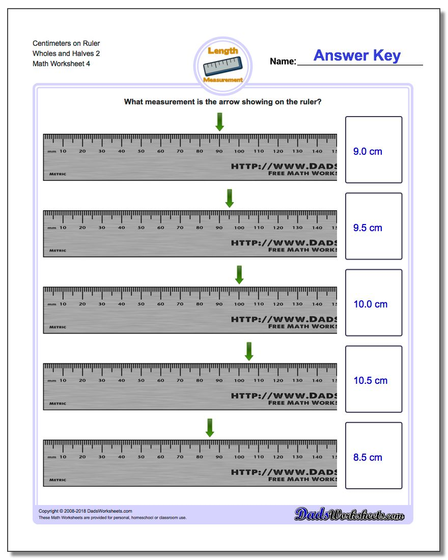 Centimeters on Ruler Wholes and Halves 2  Worksheet