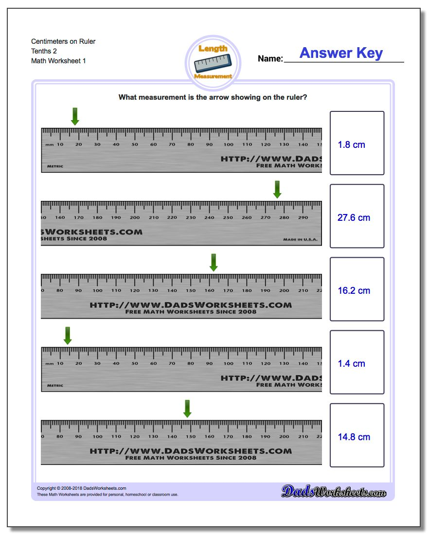 Centimeters on Ruler Tenths 2 Metric Measurement Worksheets