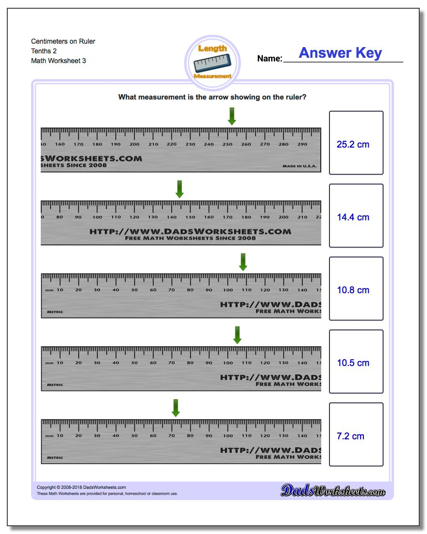 Centimeters on Ruler Tenths 2 Worksheet