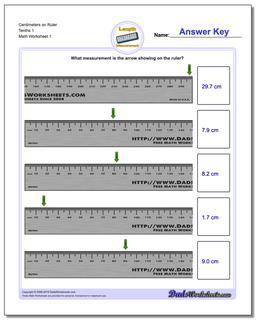 Centimeters on Ruler Tenths 1 Metric Measurement Worksheet