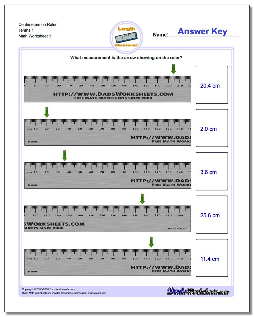 Centimeters on Ruler Tenths 1 Metric Measurement Worksheets