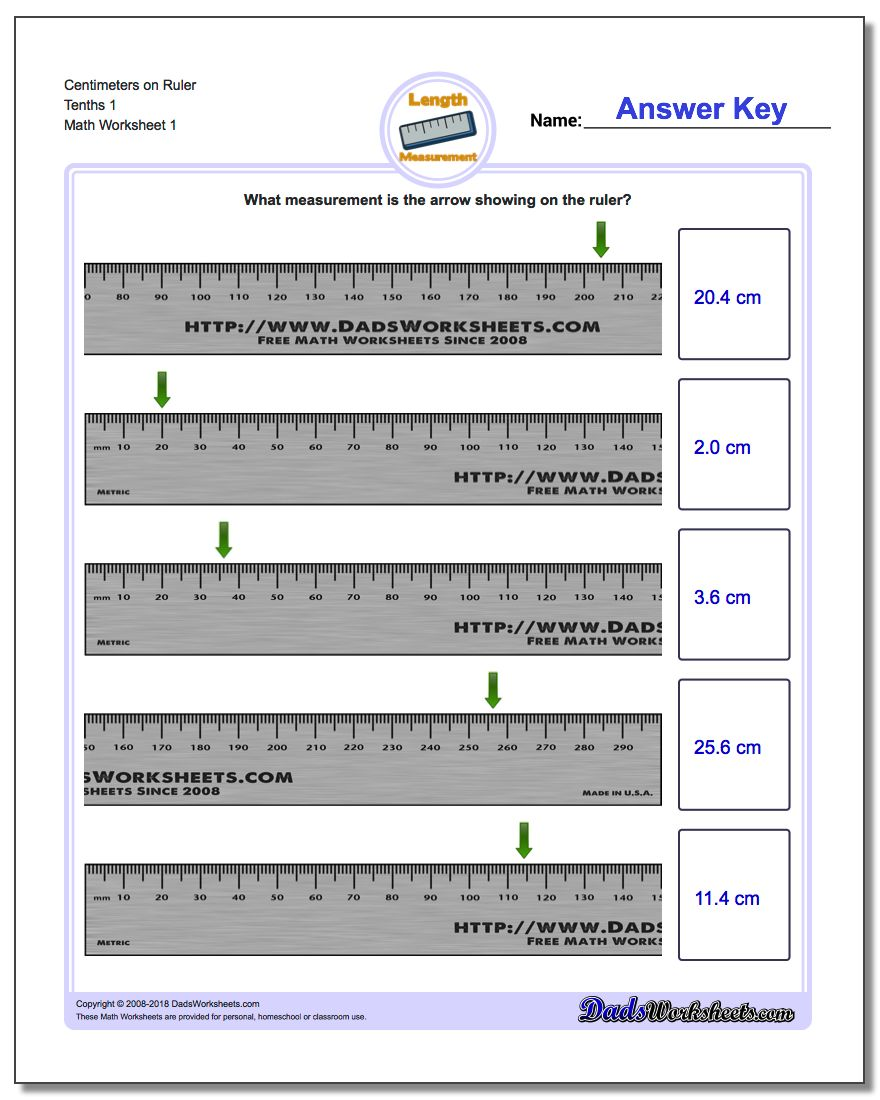 Centimeters on Ruler – Ruler Worksheets