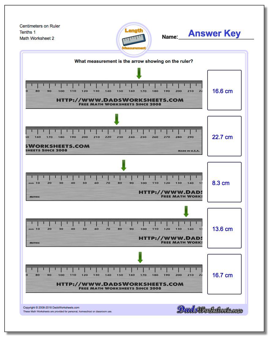Centimeters on Ruler Tenths 1 www.dadsworksheets.com/worksheets/metric-measurement.html Worksheet