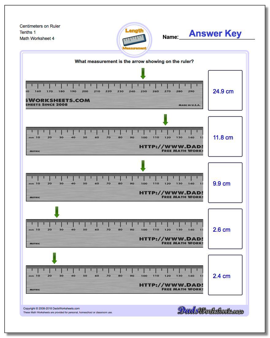 Centimeters on Ruler Tenths 1 Worksheet