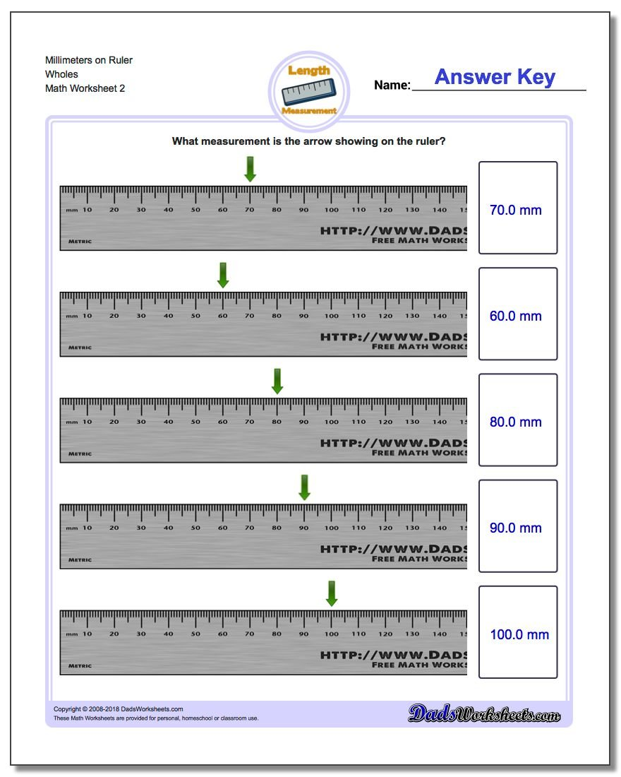 Millimeters on Ruler Wholes www.dadsworksheets.com/worksheets/metric-measurement.html Worksheet