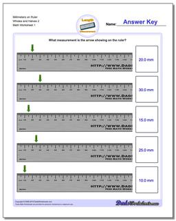 Millimeters on Ruler Wholes and Halves 2 Metric Measurement Worksheet