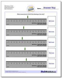 Millimeters on Ruler Wholes and Halves 2  Worksheet #Metric #Measurement #Worksheet