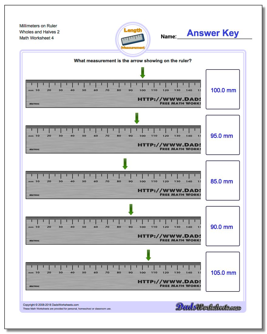Millimeters on Ruler Wholes and Halves 2  Worksheet