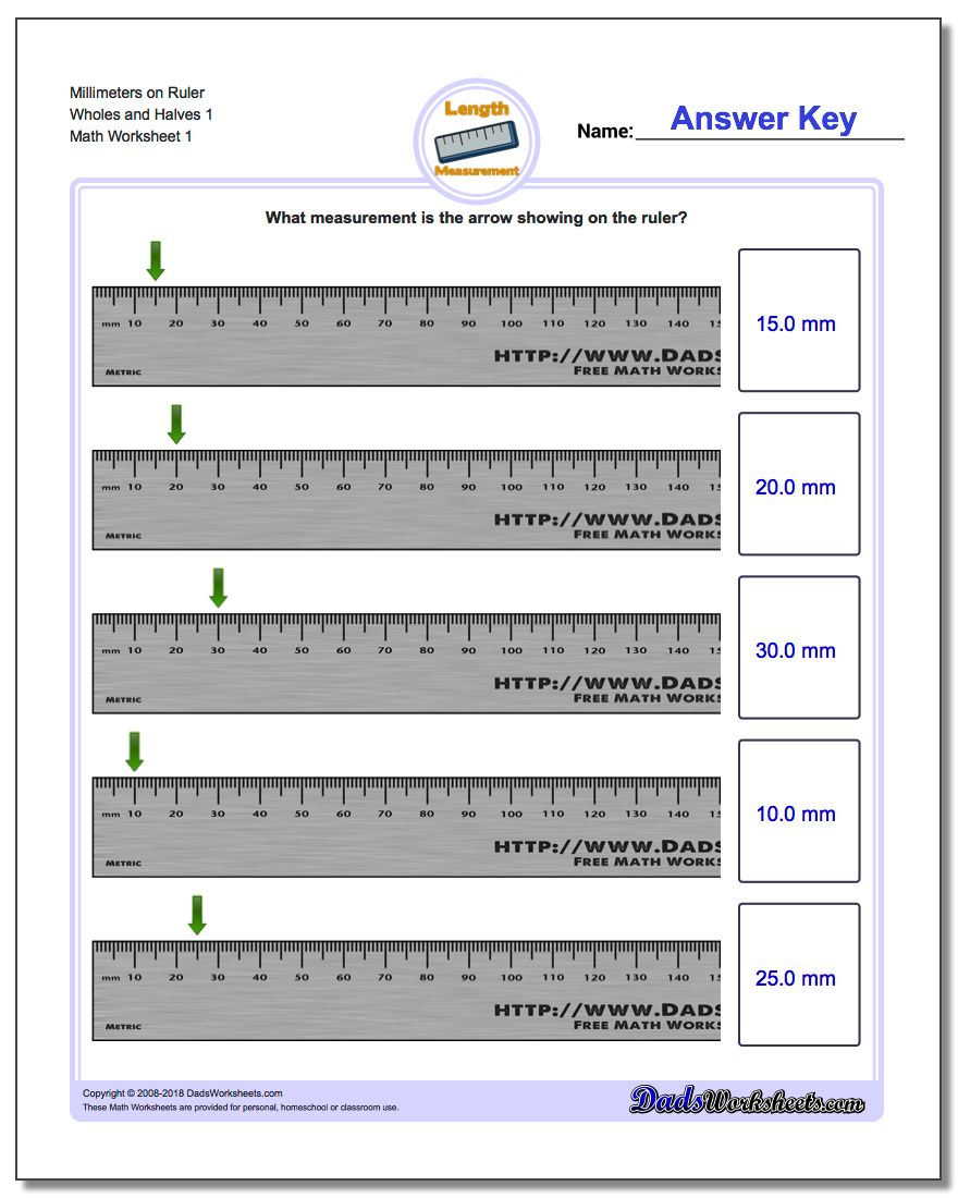 Millimeters on Ruler Wholes and Halves 1 Metric Measurement Worksheet