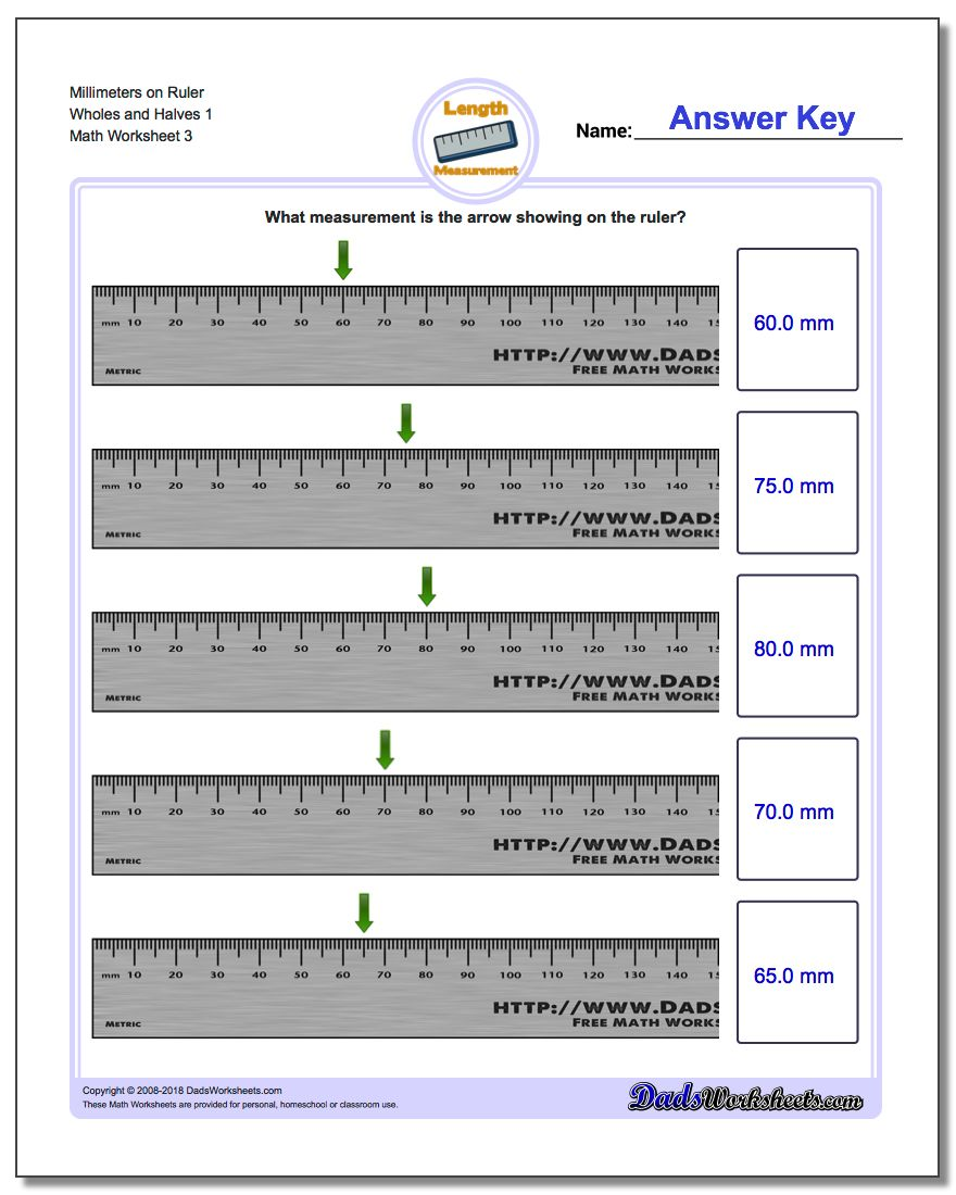 Millimeters on Ruler Wholes and Halves 1  Worksheet