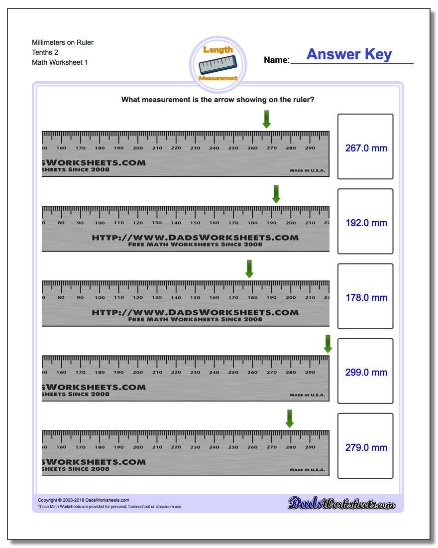 Millimeters on Ruler Tenths 2 Metric Measurement Worksheet