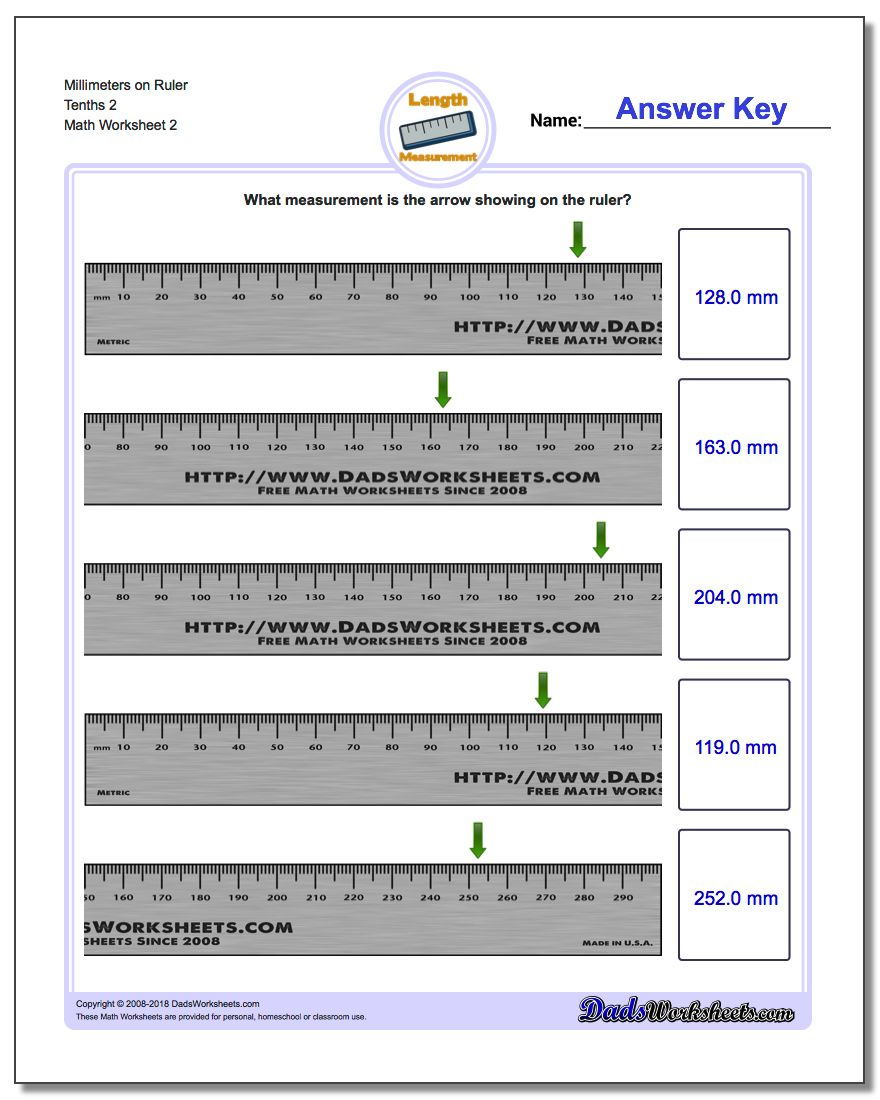 Millimeters on Ruler Tenths 2 www.dadsworksheets.com/worksheets/metric-measurement.html Worksheet