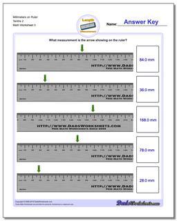 Millimeters on Ruler Tenths 2 Worksheet #Metric #Measurement #Worksheet