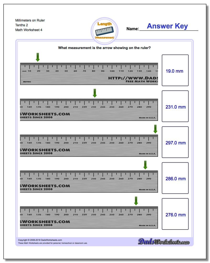 Millimeters on Ruler Tenths 2 Worksheet