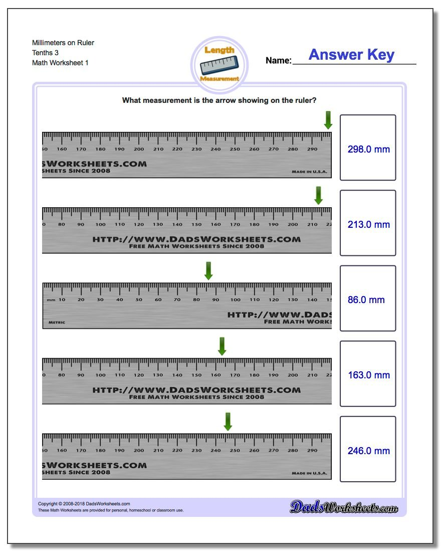 Millimeters on Ruler Tenths 3 Metric Measurement Worksheet