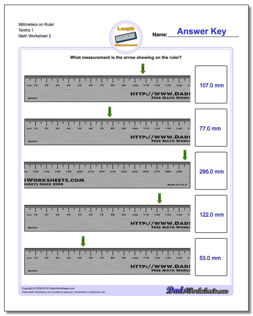 Millimeters on Ruler Tenths 1 www.dadsworksheets.com/worksheets/metric-measurement.html Worksheet