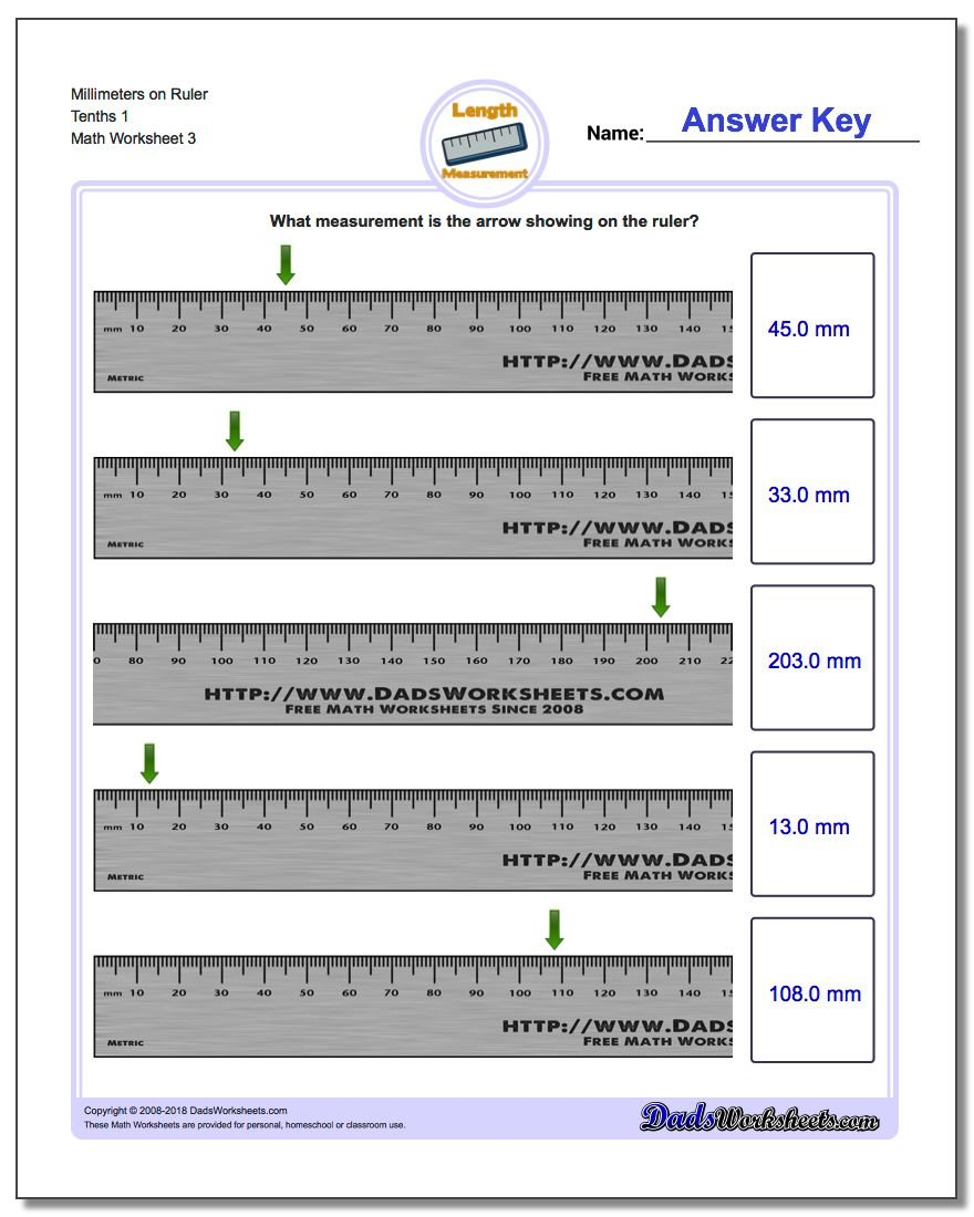 Millimeters on Ruler Tenths 1 Worksheet