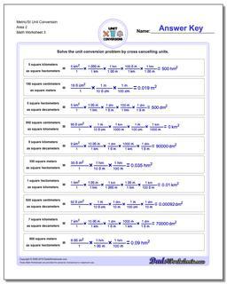 Metric/SI Unit Conversion Worksheet Area 2