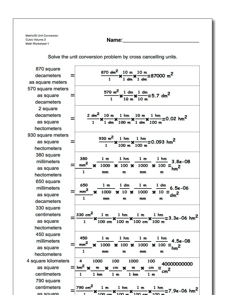 Cubic Centimeters to Liters – Si Unit Conversion Worksheet