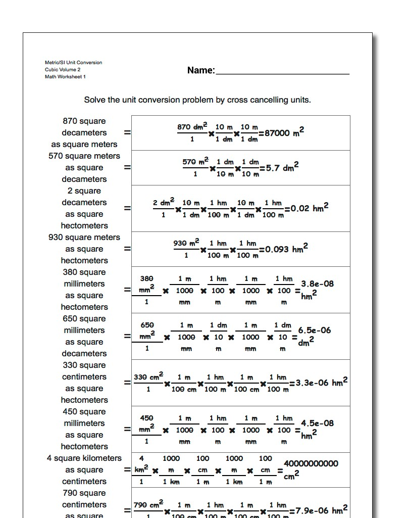 Cubic Centimeters to Liters – Unit Conversion Worksheet