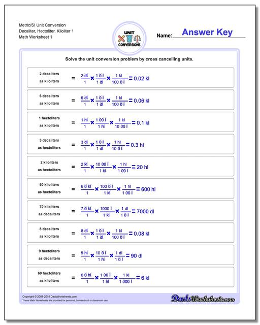 Metric SI Unit Conversion Worksheets Metric/SI Conversion Decaliter, Hectoliter, Kiloliter 1