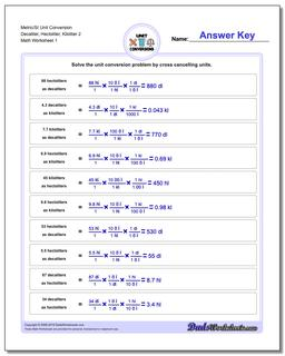 Metric SI Unit Conversion Worksheets Metric/SI Conversion Decaliter, Hectoliter, Kiloliter 2