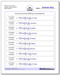 Metric SI Unit Conversion Worksheets Metric/SI Conversion Decaliter, Hectoliter, Kiloliter 3