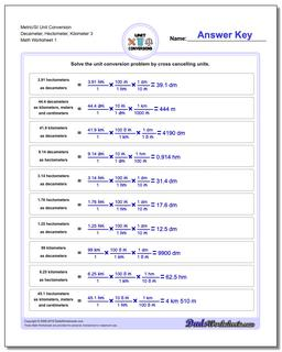 Metric SI Unit Conversion Worksheets Metric/SI Conversion Decameter, Hectometer, Kilometer 3
