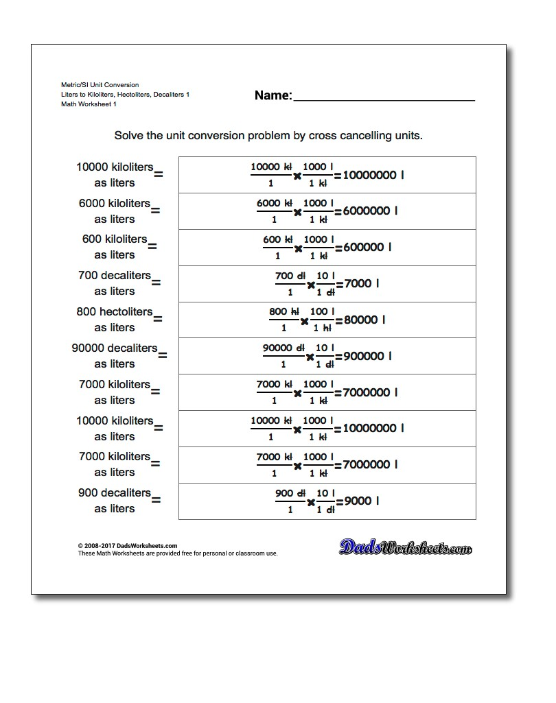Metric SI Unit Conversion Worksheets Metric/SI Conversion Liters to Kiloliters, Hectoliters, Decaliters 1