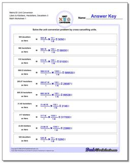 Metric SI Unit Conversion Worksheets Metric/SI Conversion Liters to Kiloliters, Hectoliters, Decaliters 3