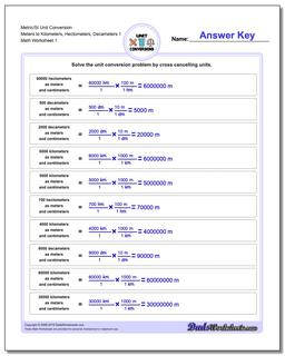 Metric SI Unit Conversion Worksheets Metric/SI Conversion Meters to Kilometers, Hectometers, Decameters 1