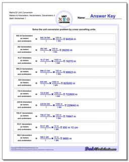 Metric SI Unit Conversion Worksheets Metric/SI Conversion Meters to Kilometers, Hectometers, Decameters 3