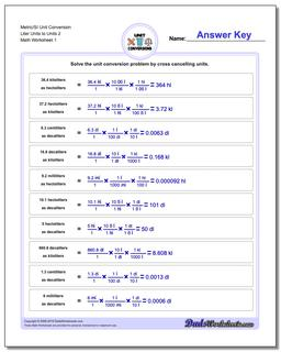Metric SI Unit Conversion Worksheets Metric/SI Conversion Liter Units to Units 2