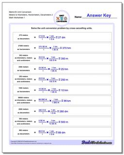Metric SI Unit Conversion Worksheets Metric/SI Conversion Meters to Kilometers, Hectometers, Decameters 2