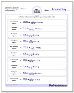 Metric SI Unit Conversion Worksheets Metric/SI Conversion Milligrams and Centigrams to Grams 3