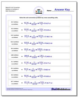 Metric SI Unit Conversion Worksheets Metric/SI Conversion Milliliters to Centiliters 3