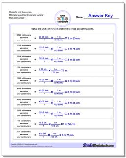 Metric SI Unit Conversion Worksheets Metric/SI Conversion Millimeters and Centimeters to Meters 1