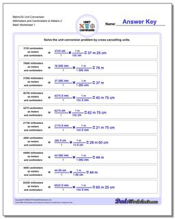 Metric SI Unit Conversion Worksheets Metric/SI Conversion Millimeters and Centimeters to Meters 2