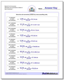 Metric SI Unit Conversion Worksheets Metric/SI Conversion Millimeters and Centimeters to Meters 4