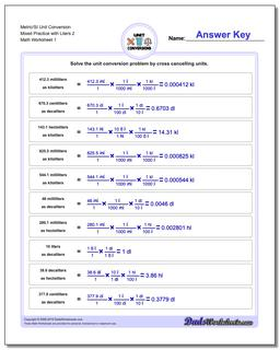 Metric SI Unit Conversion Worksheets Metric/SI Conversion Mixed Practice with Liters 2